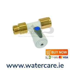 John Guest 1-2 inch Female to 1-2 inch Male with 1-4 inch Shut off Tap